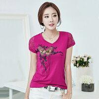 韓版修身印花釘珠T恤(4色M~4XL)*ORead*-OREAD-自由風格-女裝特惠商品