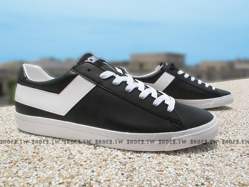 Shoestw【63U1TS61BK】PONY TOP STAR 復古板鞋 黑白 皮革 男生