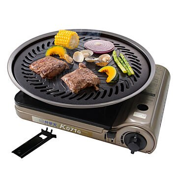 [超值組合]妙管家 黃金休閒爐/卡式爐 K071G + 和風燒烤盤(大)/烤肉盤HKGP-33(03191)