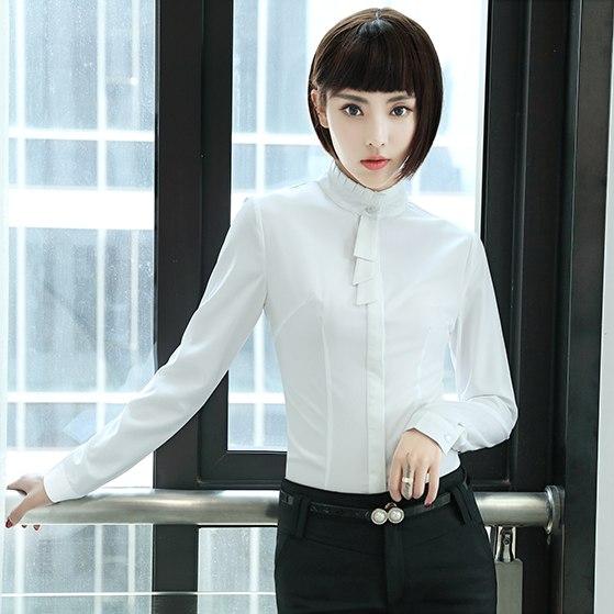 灰姑娘[YS-7041-PF]立領抓皺優雅領結OL長袖襯衫上衣~(領結不可拆)~秋裝新款~