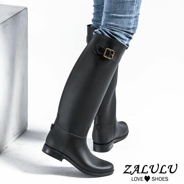 JK015 預購 防水高筒修身搭扣雨鞋-黑-36-40【ZALULU愛鞋館】 1