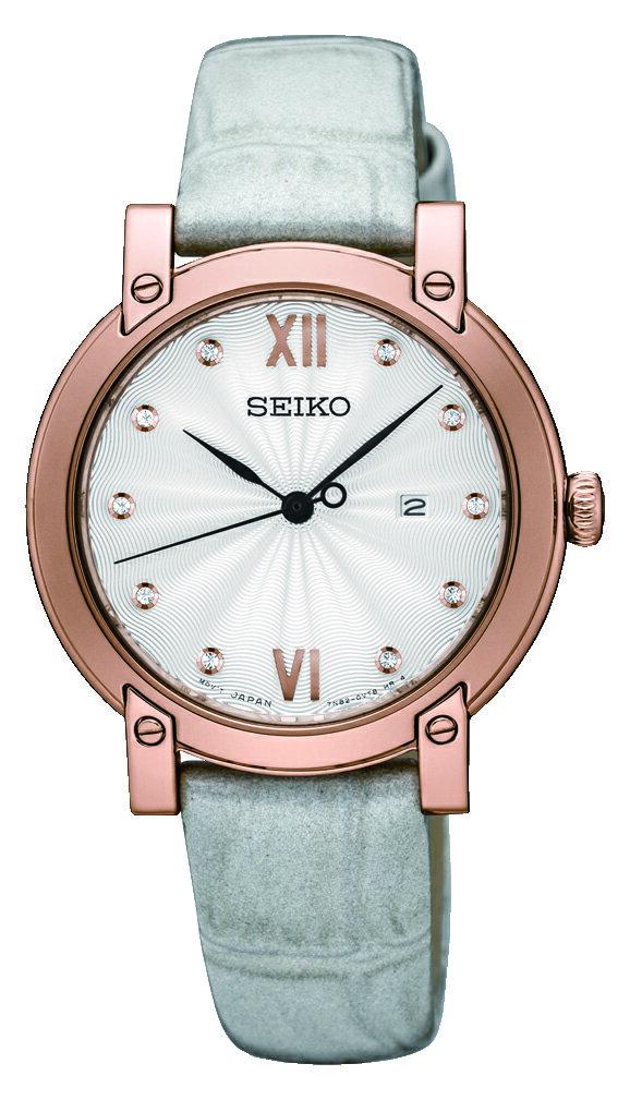 SEIKO 精工 甜蜜晶鑽時尚女錶 晶鑽銀 玫瑰金框 7N82-0JM0P (SXDG82P1) 31mm