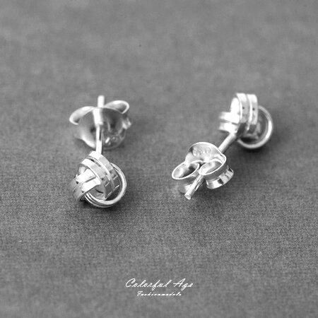 925純銀貼耳式耳針耳環 立體三環相扣毛線球 鏤空層次交錯 抗過敏~NPD30~一對