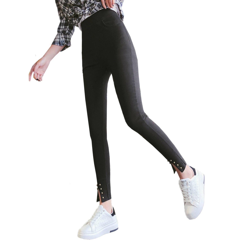 鉛筆褲--舒適個性彈力高腰口袋開衩鉚釘修身九分休閒窄管長褲(黑L-2L)-R224眼圈熊中大尺碼 0