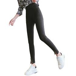 鉛筆褲--舒適個性彈力高腰口袋開衩鉚釘修身九分休閒窄管長褲(黑L-2L)-R224眼圈熊中大尺碼