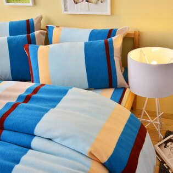 Pure One:PureOne超保暖搖粒絨-北歐條紋-藍@加大四件式床包被套組@台灣製@SGS檢驗合格