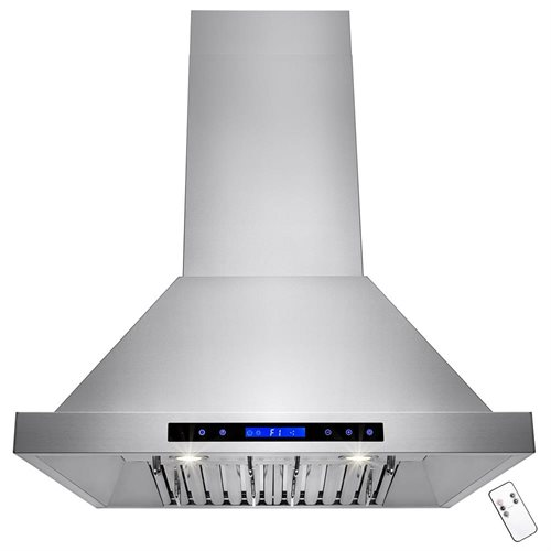 "AKDY 30"" Stainless Steel Island Mount Range Hood Touch Screen Display Baffle Filter Ductless Vent 0"