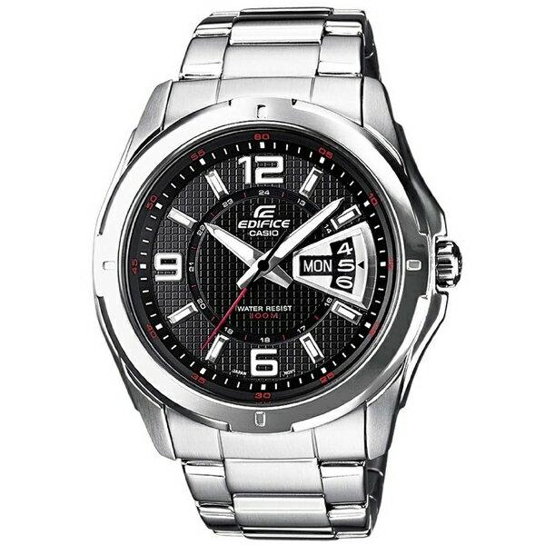 CASIO EDIFICE EF-129D-1A簡約雙日曆賽車腕錶/黑面45mm
