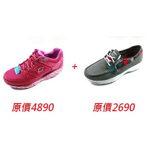 {US5}買一送一SKECHERS(女)慢跑鞋SRR訓練專用-88888037RAS+SKECHERS(女)健走系列ONTHEGO帆船鞋-14418GRY灰色印花