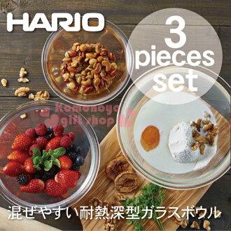 〔小禮堂〕HARIO 日製玻璃保鮮盒組《3入.紅蓋.透明.圓型》