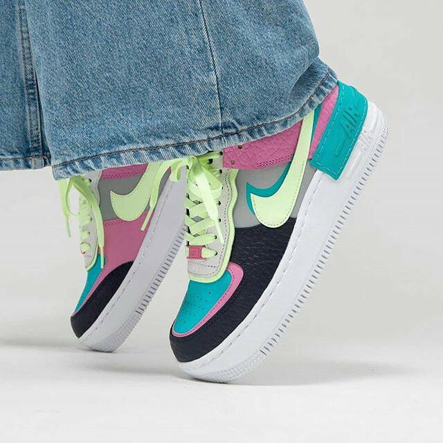【日本海外代購】Nike Force 1 SHADOW AF1 雙勾 厚底 黑藍 黑色 粉綠 綠色 女鞋 CK3172-001