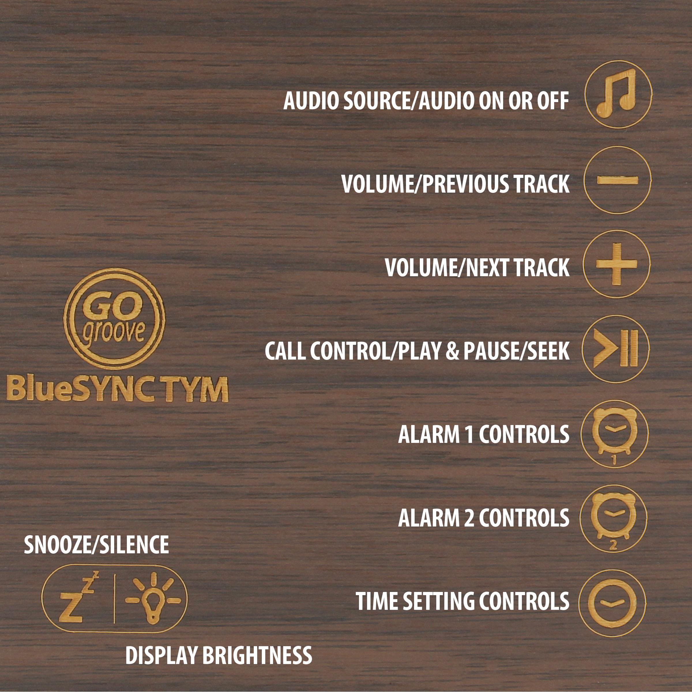 Bluetooth Alarm Clock Radio Speaker by GOgroove - Wood , FM Radio , Dual Alarms , USB Charging Ports 7