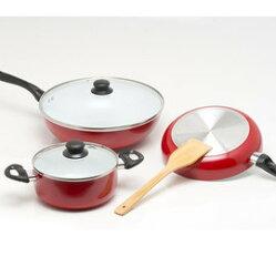 《固鋼》color cook 白陶瓷炒鍋平煎鍋湯鍋6件式/三鍋超值六件組/ 不沾鍋 炒菜鍋 平底鍋 無毒不沾鍋