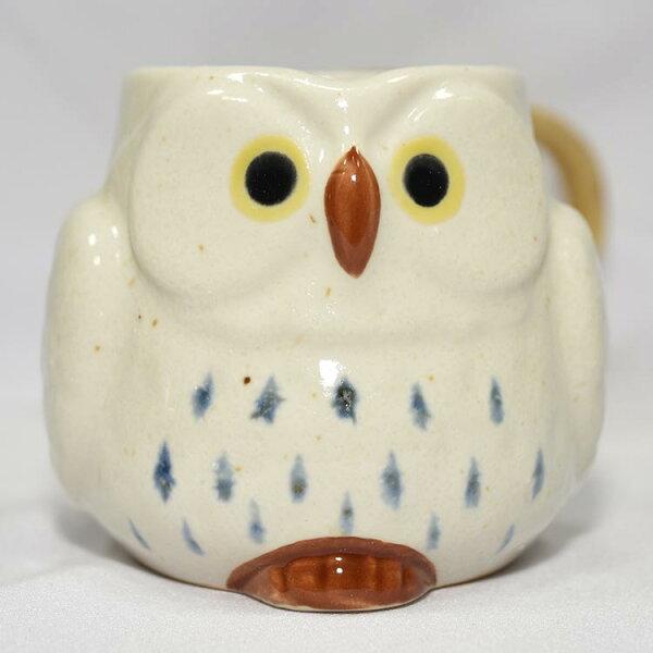 貓頭鷹陶瓷馬克杯日本製造白色