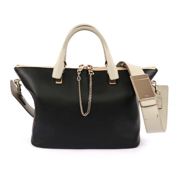 【CHLOE】Baylee Small two-tone tote 小牛皮 ( 黑/灰) 3S0169 882 09V