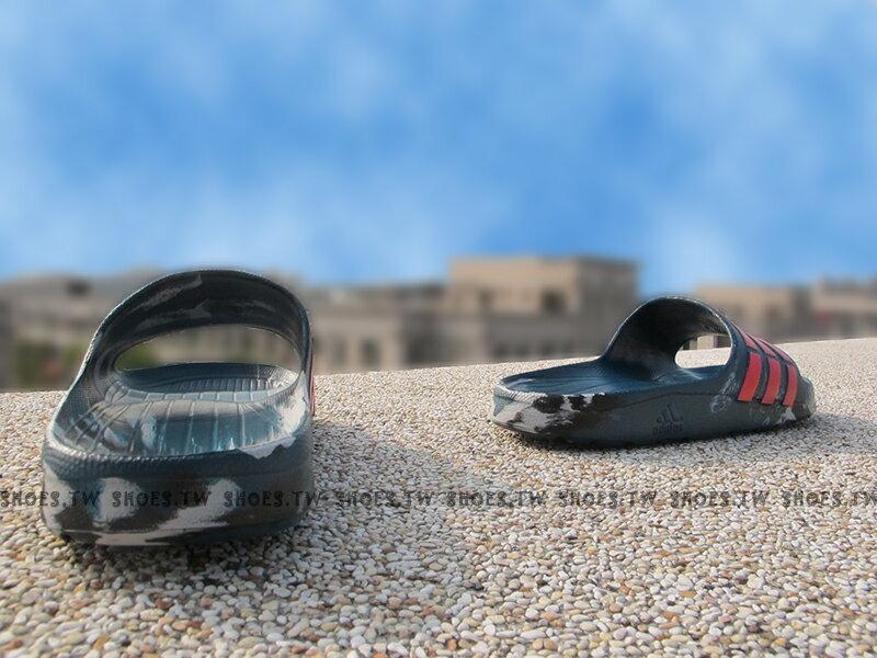 Shoestw【AQ5257】ADIDAS DURAMO SLIDE 拖鞋 一體成型 藍綠迷彩 男女都有 2