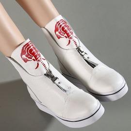 白色35秋冬季學生個性運動鞋真皮單鞋女休閑時尚坡跟厚底拉鏈高幫鞋黑白