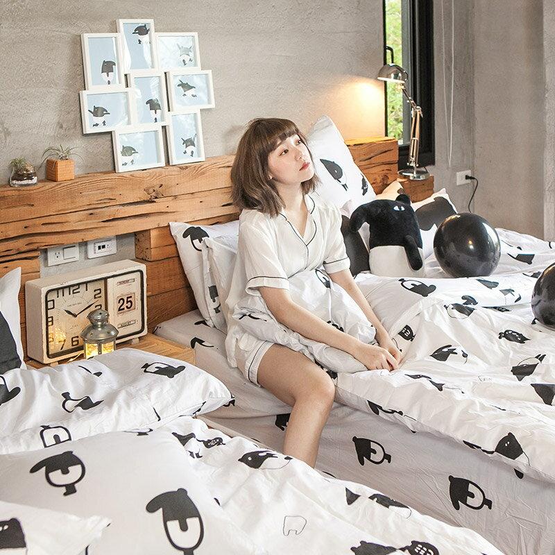 床包  /   雙人-100%精梳棉【經典黑白款-馬來貘的日常】含兩件枕套 獨家人氣插畫家 聯名款 戀家小舖 台灣製 5