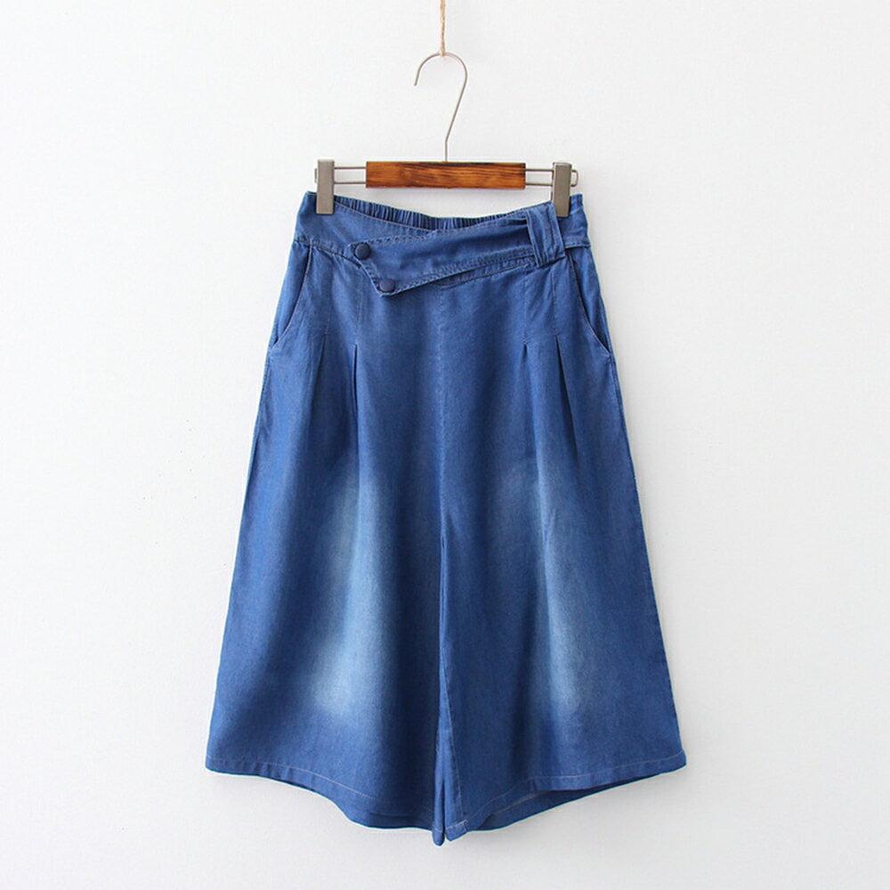 韓版寬鬆高腰七分褲天絲棉牛仔褲(2色S~XL)*ORead* 0