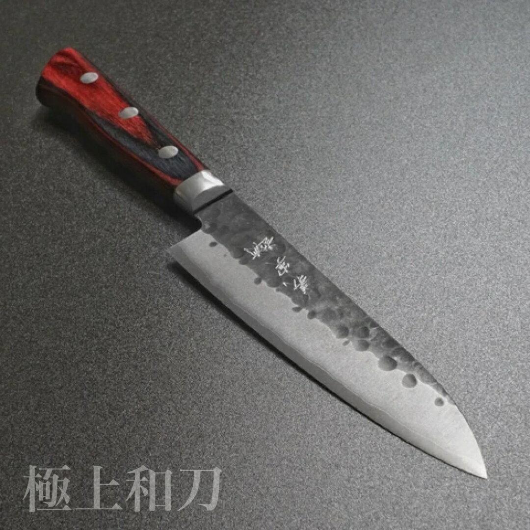 【日本進口菜刀】越前打刃物 義實 小刀 超級青紙鋼 黑打槌目 赤黑合板柄 120mm 150mm