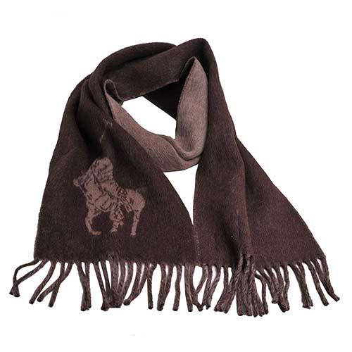 RALPH LAUREN POLO 大馬LOGO雙面配色素面羊毛圍巾(咖啡系色)