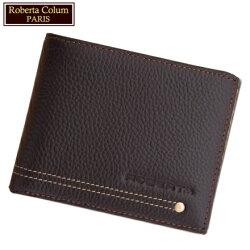 【Roberta Colum】諾貝達 男用皮夾 短夾 專櫃皮夾 進口軟牛皮鉚釘短夾 (咖啡色23151)【威奇包仔通】