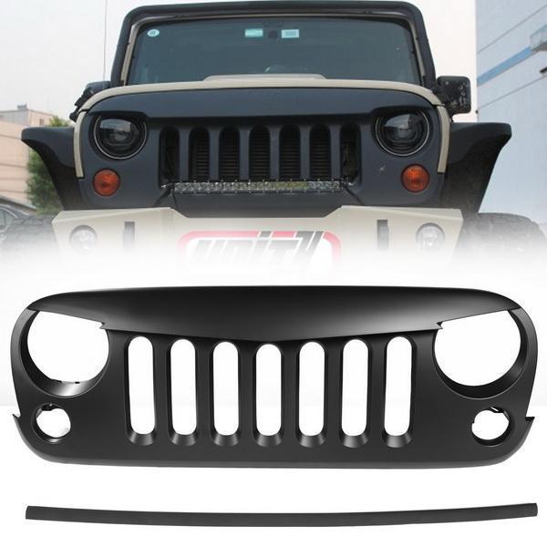 Eagle Eye Black Front Grill for 2007-2016 Jeep Wrangler JK 2