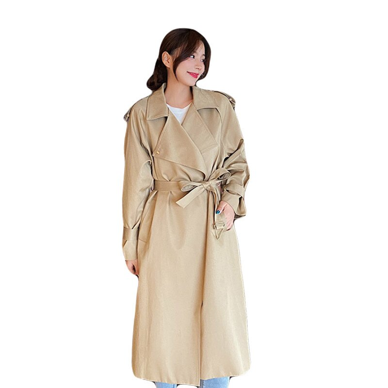 風衣大衣長版外套-薄款寬鬆繫帶休閒女外套73yt50【獨家進口】【米蘭精品】