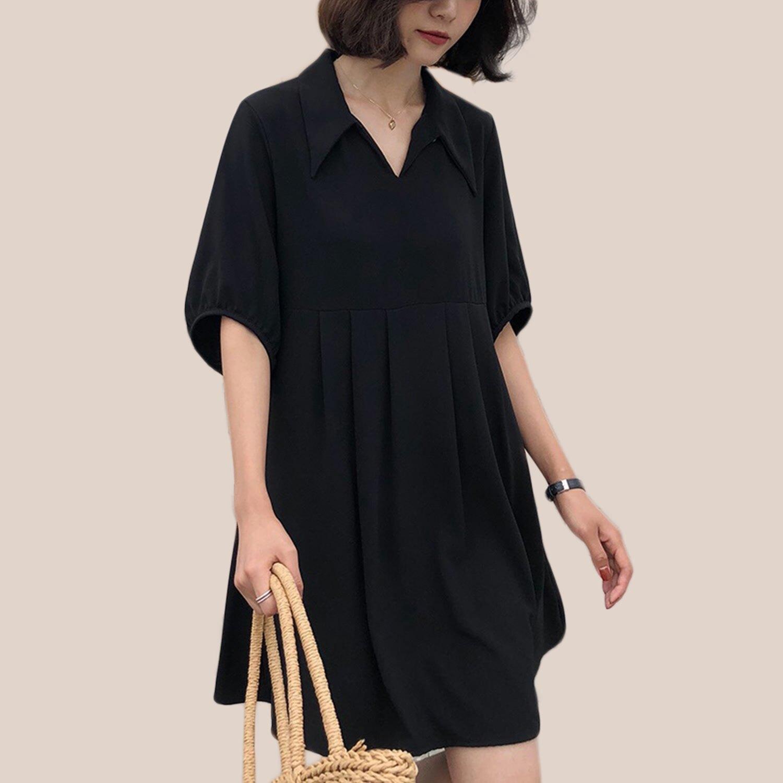 長上衣--優雅氣質翻領襯衫V領波浪下擺短袖高腰連身裙 / 洋裝(黑M-3L)-D504眼圈熊中大尺碼 0