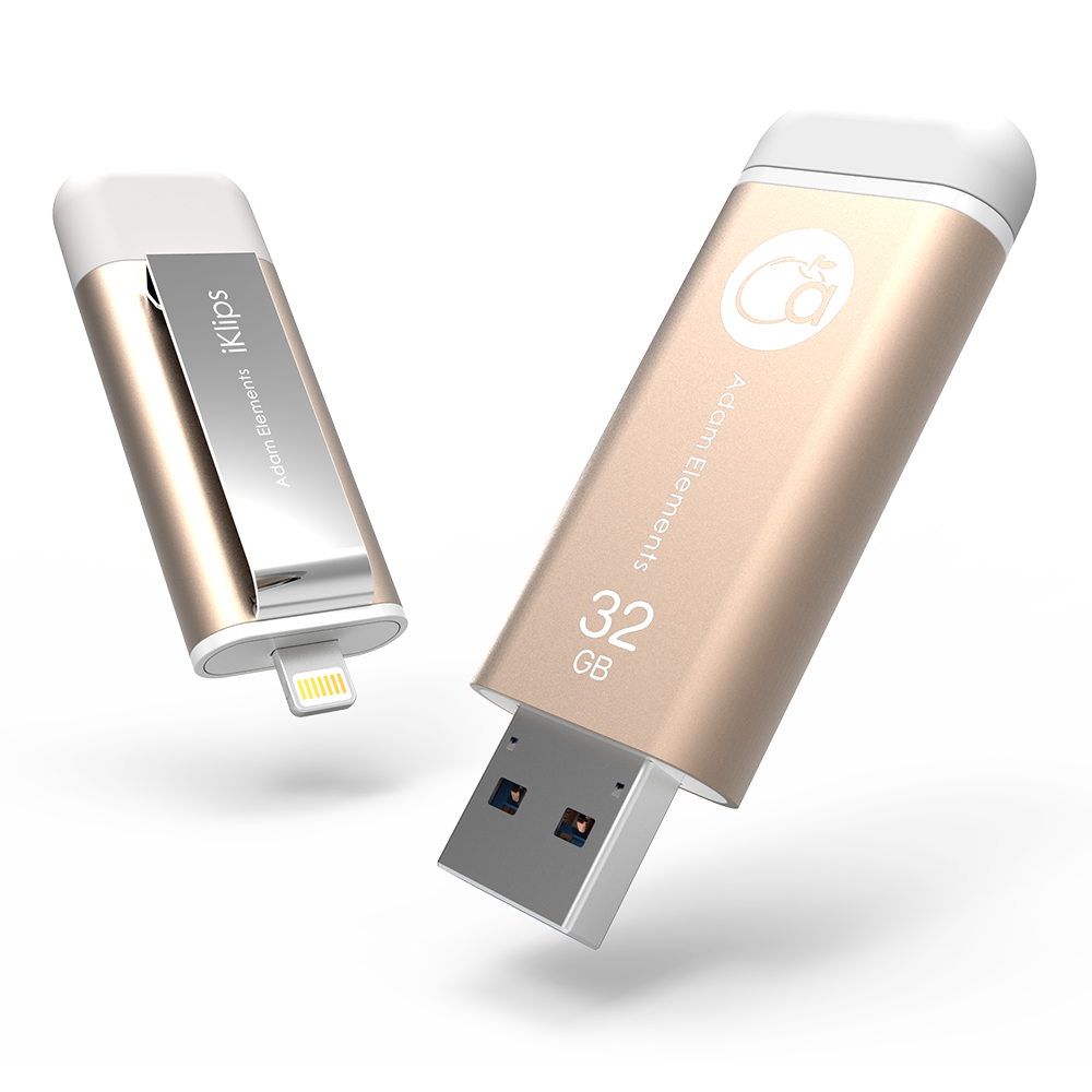 iKlips Apple 32G USB 3.0極速多媒體行動碟 金色~亞果元素~蘋果