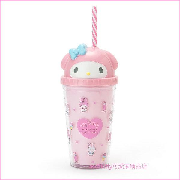 asdfkitty可愛家☆美樂蒂大臉造型粉紅色塑膠吸管杯-300ML-飲料杯-日本正版商品
