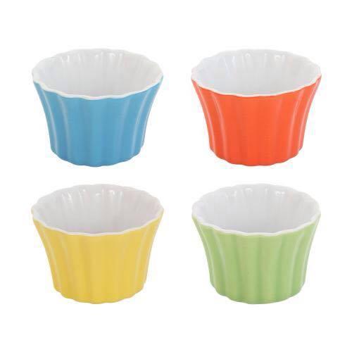 HOMA 彩色廚房 條紋向口彩色烤盅 法國時尚色系 綠色一個 烘培器具 烘培用具
