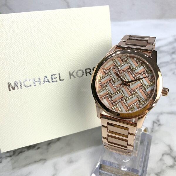 美國百分百【MichaelKors】手錶MK3592女錶MK不鏽鋼水鑽禮盒專櫃配件玫瑰色J031