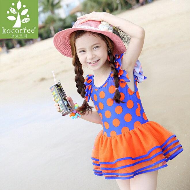 Kocotree◆可愛女孩荷葉邊亮眼點點連體裙式泳褲蓬裙擺泳裝~橘藍色