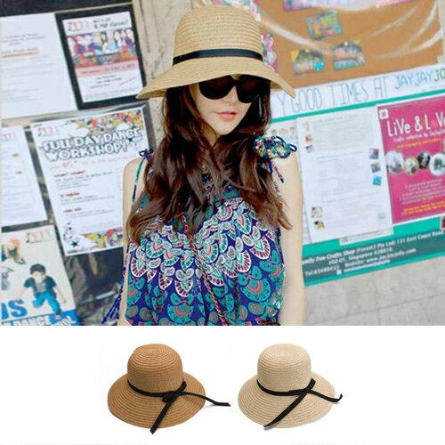 遮陽帽 蝴蝶結草帽編織沙灘帽遮陽帽~YJA~208~ BOBI 6  23