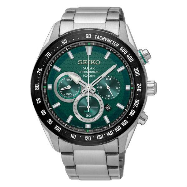 SeikocriteriaV175-0EE0G(SSC583P1)極致競速款太陽能計時腕錶綠面43.6mm