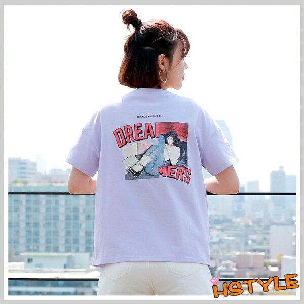 T恤圓領個性印花短袖T恤NF9455-創翊韓都