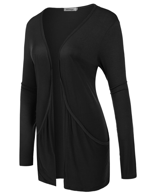 Women Long Sleeve Solid Cardigan Front Pocket Outwear 0