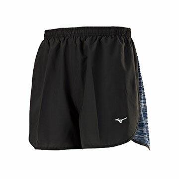 J2TB755590(黑X黑)麻花剪接內裡褲設計RUNNING男路跑短褲【美津濃MIZUNO】