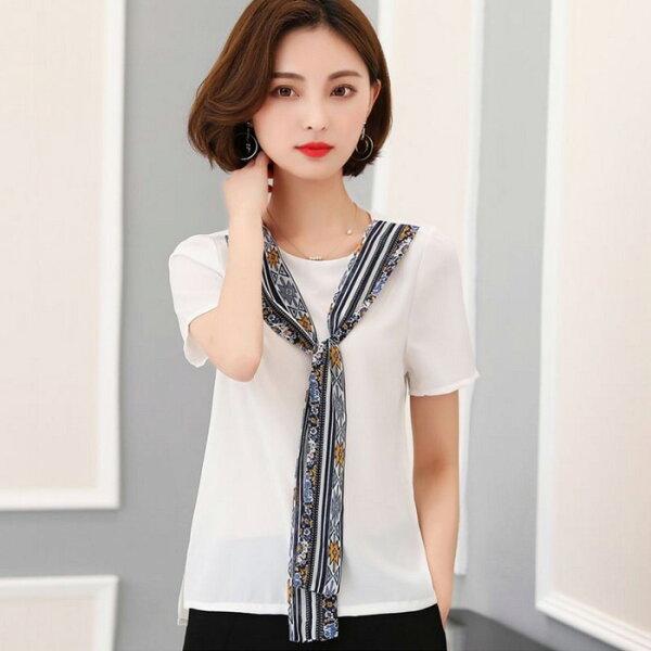 糖衣子輕鬆購【GH2160】韓版時尚優雅飄帶上衣領帶雪紡上衣