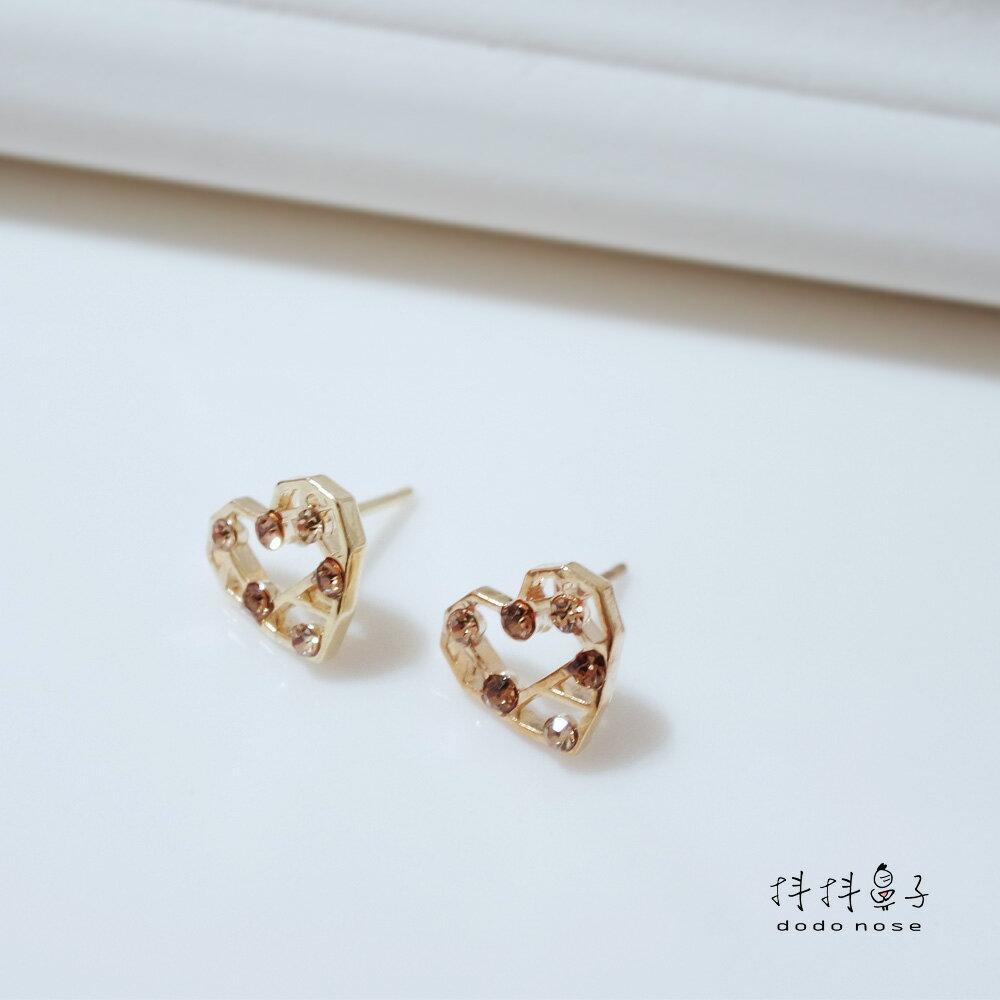 幾何愛心彩鑽耳環 1