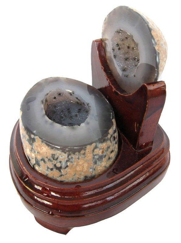 水晶聚寶盆擺件0.84kg水晶洞瑪瑙錢袋子