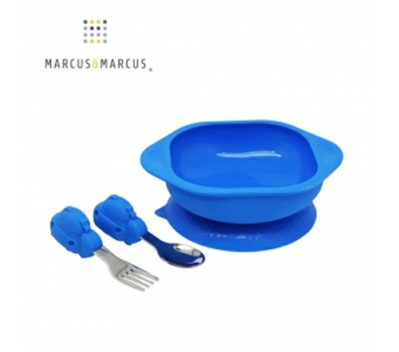 加拿大 MARCUS&MARCUS 動物樂園寶寶握握學習禮盒組-河馬(藍)★衛立兒生活館★