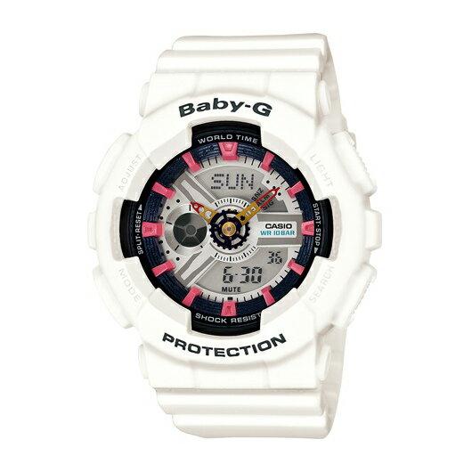 CASIO BABY~G BA~110SN~7A雙顯 腕錶  白黑面43.4mm