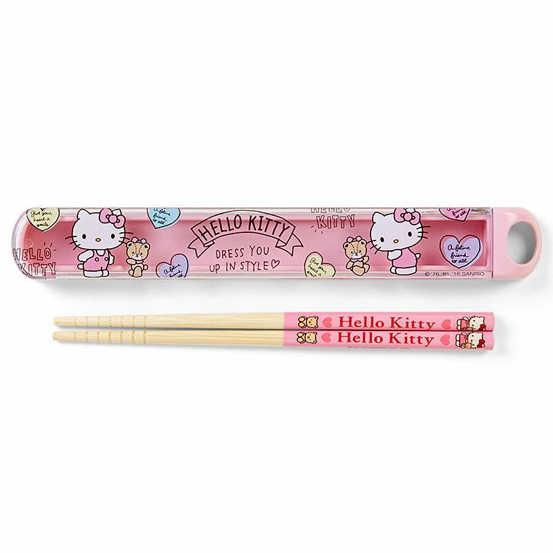 【真愛日本】16082500012 日本製抽拉竹筷附盒-KT小熊粉  三麗鷗 Hello Kitty 凱蒂貓 餐具組  日本製