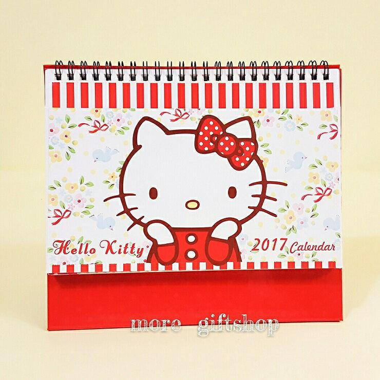 ~more 小舖~凱蒂貓Hello Kitty 2017年Calendar 三角檯月曆 民