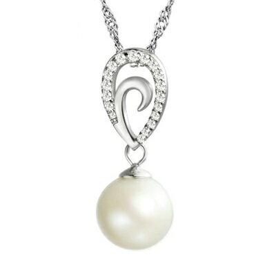 925純銀項鍊 珍珠吊墜~精緻鑲鑽高貴典雅生日情人節 女飾品73dh14~ ~~米蘭 ~