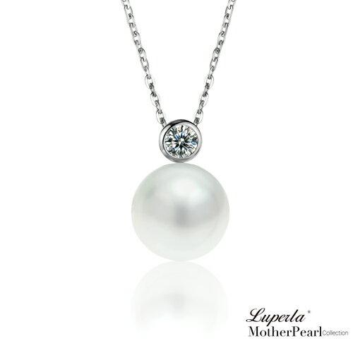 大東山珠寶 鑽石女伶 純銀晶鑽貝珠項鍊