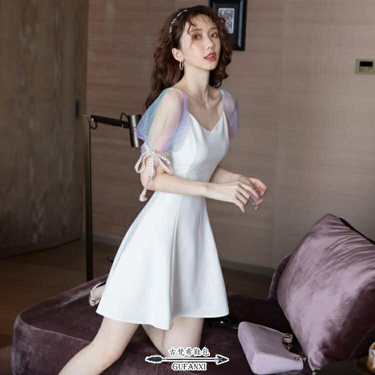 宴會禮服 會小夏季短款洋裝氣質派對收腰顯瘦白色連衣裙 摩可美家