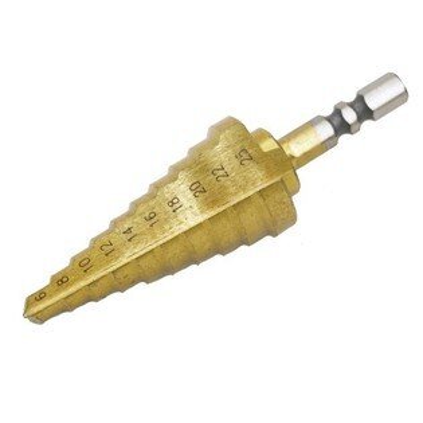 (6~25mm)專業階梯鑽高速鋼HSS材質六角頭鍍鈦階梯鑽頭鑽尾梯型圓穴鑽